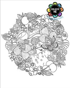 Adult Colouring Page Fruit Circle White by ColouringandTangling