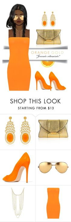 """#orange"" by liligwada ❤ liked on Polyvore featuring Alexandra Alberta, Judith Leiber, Casadei, Linda Farrow, Adoriana and WearAll"