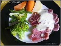Homemade Corned Beef Recipe - My kids love silverside, and although I enjoy making it, I find the clean up a bit tedious – big pot for the meat to be boiled in, small pot for the white sauce, a pot and a steamer for the veggies – what a mess. Corned Beef Sauce, Homemade Corned Beef, Corned Beef Recipes, Corned Beef Silverside, Fun Cooking, Cooking Recipes, Cooking Ideas, Gluten Free Sauces, Kitchens