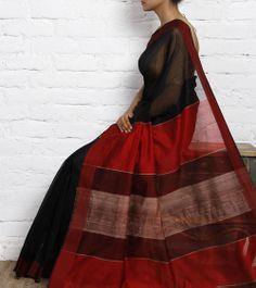 Black and Red Cotton Silk Maheshwari Saree