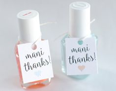 Mani Thanks, Custom Bridal Shower Favor Tags, Personalized Gift Tags, Nail Polish Favor Tags, Mani Thanks Nail Polish Favor Tags - Set of 18