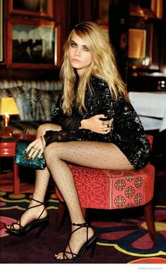 Topshop Holiday 2014 – Cara Delevingne looks ready to party in pleated dresses, sequin-adorned bags and stockings.