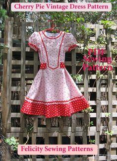 Girl's Dress Pattern -- Cherry Pie Dress http://www.felicitysewingpatterns.com/product/cherry-pie-vintage-girls-dress-pattern-felicity-patterns-sizes-2-10-years?tid=3