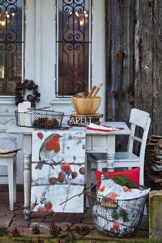 Winterwelt - das Rotkehlchen als Kissen oder Läufer, Artikel 5148 von Apelt