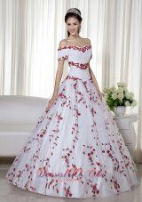 White and Red Ball Gown Off The Shoulder Floor-length Taffeta and Organza Embroidery Quinceanera Dress Pretty - US$189.59  http://www.dresses100.com  Williams Az off-the-shoulder wedding quinceanera gowns