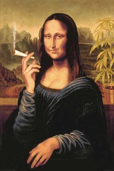 Mona Lisa - Smoking Joint (24x36) - HMR03305  Get it on http://Papr.Club as a Monthly Subscription