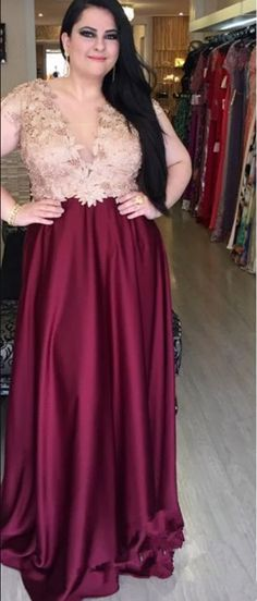 V-neck Sexy Satin Plus Size Prom Dress With Applique, Long Evening Dress UK Classy Prom Dresses, Plus Size Prom Dresses, Sexy Dresses, Party Dresses, Fashion Dresses, Formal Dresses, Evening Dresses Uk, Short Prom, Prom Party