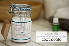 DIY Homemade Stress Relieving Foot Soak. Relaxing, Detoxifying, and only a couple ingredients! This would make a great gift! FREE PRINTABLE, too! Via View From The Fridge