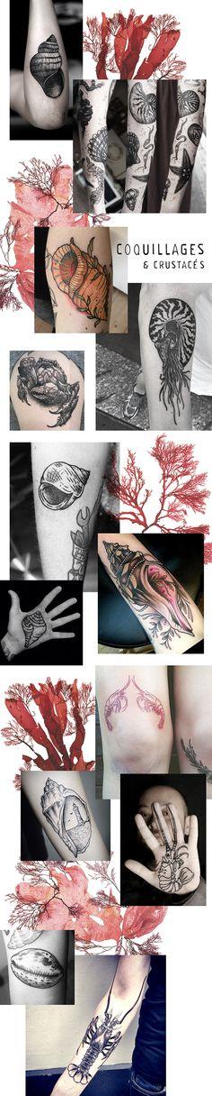 inspiration tattoo tatouage coquillages et crustacés