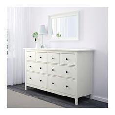 IKEA - HEMNES, Komoda, 8 szuflad, biały, , Płynnie wysuwane szuflady z blokadąJeśli chcesz utrzymać w środku porządek, możesz wykorzystać zestaw 6 pudełek SKUBB.