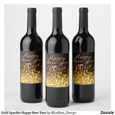 Gold Sparkle Happy New Year Wine Label Personalized Wine Labels, Gold Sparkle, Party Items, New Years Party, Bottle Labels, Photo Quality, Christmas Card Holders, Happy New Year, Wine Rack