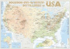 """The world's first map to the """"Bourbon - Rye - Whiskey Distilleries in USA"""" with more than 805 entries even the most recent and most extensive map of the world. · 1st Edition 2016 · in three formats as Large Poster ISBN 978-3-944148-31-1, Medium Poster ISBN 978-3-944148-32-8 & Tasting Map ISBN 978-3-944148-33-5. The complete list of all registered distilleries with address and website as a 24-page booklet available. www.alba-collection.com"""
