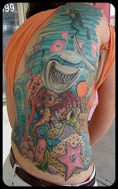 Funny underwater world tattoo on back