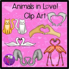 Animals in love Valentine's clip art - color & black line. Want an absolutely unique set of clip art, perfect for Valentine's themed resources? This set of clip art is of animals and hands making heart shapes, let your imagination run free with what you can do with these products!