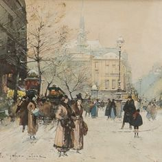 """Paris Winter"" Eugene Galien-Laloue (1851-1941) French Artist"