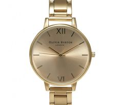 Big Dial Gold Bracelet Watch by OLIVIA BURTON WATCHES A statement watch is every fashionista's secret weapon and this Big Dial bracelet is a chic and easy to wear choice.  Gold plated round case Gold Plated link bracelet Branding etched on the back of the case Bird etched on clasp of bracelet Three hand Japanese Quartz movement Case: 38 x 38mm Branded Presentation Box 1 Year Guarantee £94 http://www.vonscharfenberg.com/product/big-dial-gold-bracelet-watch/