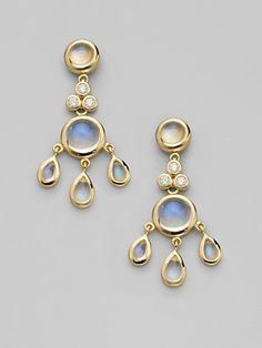 Marie Helene de Taillac ~ Moonstone and Diamond Earrings