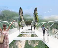 China Opens World's Longest And Highest Glass-Bottom Bridge The Zhangjiajie Grand Canyon Glass Bridge floats 300 meters above the canyon. It is 380 meters long, 6 meters wide with a transparent floor. Zhangjiajie, In China, China Sets, Places To Travel, Places To See, Travel Destinations, Scary Bridges, Bridge Design, Pedestrian Bridge