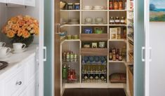Fresh Awesome Kitchen Pantry Cabinet Plans Kitchen Pantry With Organized Shelving Unit This Walk In Pantry Boasts interior decorating options from ou. Kitchen Pantry Design, Kitchen Pantry Cabinets, Smart Kitchen, Kitchen Organization, Diy Kitchen, Kitchen Dining, Kitchen Designs, Organization Ideas, Kitchen Ideas