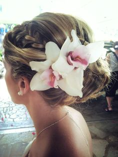 Loved these white Cymbidium Orchids for my wedding up-do. #hair #wedding #bridalhair @Beauty by Tania
