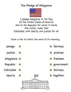 Pledge of Allegiance Vocabulary Match