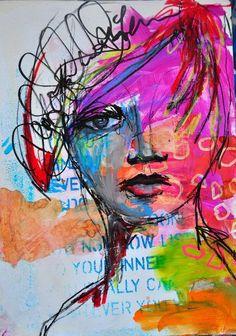 Like the Blue Text under the Color & Black Sketch - Dina Wakley - Dina 06 Mix Media, Mixed Media Art, Art Journal Pages, Art Journals, Journal Prompts, Wow Art, Art Journal Inspiration, Art Plastique, Portrait Art