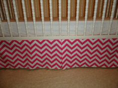 Baby crib skirt Hot Pink & white Cheron, stripes. Valance avble . Fits toddlers beds. Girl Nursery bedding decor , Free Shipping