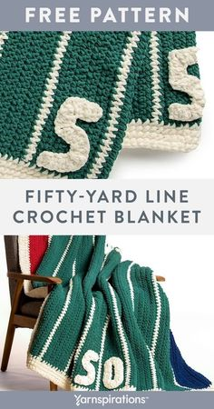 Free Fifty-Yard Line Crochet Blanket crochet pattern using Bernat Blanket yarn. Designed with football lovers in mind, the simple stripes of the field create a modern and graphic look, while the 50-yard motifs are sure to please any sports fan. Customize your blanket by changing up the end zone colors, then snuggle-up to watch the game in comfort and warmth! #Yarnspirations #FreeCrochetPattern #CrochetAfghan #CrochetThrow #CrochetBlanket #BernatYarn #BernatBlanket Easy Crochet Blanket, Blanket Yarn, Knit Or Crochet, Crochet Blanket Patterns, Free Crochet, Crochet Blankets, Bernat Yarn, Crochet Projects, Stripes