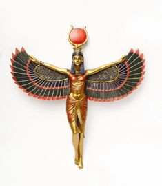 2010 ANCIENT EGYPTIAN ISIS OPEN WINGS WALL PLAQUE DECOR