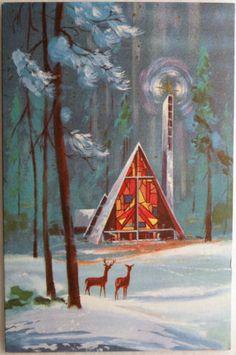 1950's Snowy A~Frame Church w/ Deer Christmas Card ~ Orange Accents