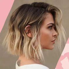 Onbre Hair, Hair Buns, Girl Hair, Wavy Hair, Medium Hair Styles, Curly Hair Styles, Girls Short Hair Styles, Short Hair Colors, Short Textured Bob