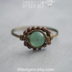 Green Aventurine Boho Ring, wire wrapped jewelry handmade, wire wrapped ring, boho jewelry, unique rings, bohemian jewelry, boho ring