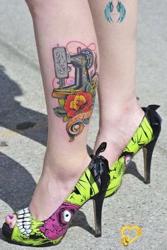 Girl With The Singer Tattoo by RichardMacDonald on DeviantArt  <br> Rose Tattoos, Leg Tattoos, Tattoo Roses, Color Tattoos, Iron Fist Heels, Sewing Machine Tattoo, Sewing Tattoos, Zombie Tattoos, Calf Tattoo