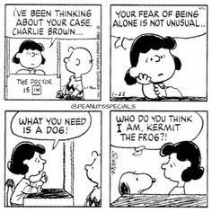 Charlie Brown needs Snoopy, not Kermit. Snoopy Cartoon, Snoopy Comics, Peanuts Cartoon, Peanuts Snoopy, Fun Comics, Peanuts Comics, Snoopy Love, Snoopy And Woodstock, Comics Und Cartoons