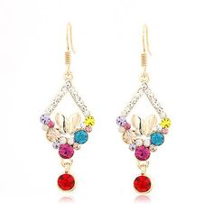 New Arrival OL elegant temperament butterfly dance charm geometry box Earrings Colorful DC20E1101