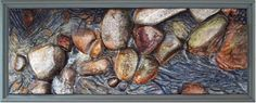 "Price: $2,300  WIN ZIBEON  Cedar River No. 1   Oil on Carved Wood, 19"" x 47.5""  Estimated Value: 4,200  Contact: charlotte@rushartsgallery.org"