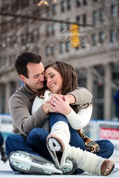 Frank and Jamie: A Winter Detroit Engagement Ice Skating Engagement session