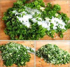 sekání bylinek se solí Home Canning, Kraut, Chutney, Parsley, Preserves, Pesto, Herbalism, Korn, Food And Drink