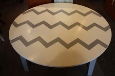 Chevron striped round coffee table