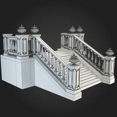 Buy Staircases Collection by ThemeREX on Bundle of high quality polygonal models of staircases. Marble Staircase, Staircase Design, Architecture Blueprints, Architecture Details, House Stairs, Facade House, Classic House Design, Independent House, Building Painting