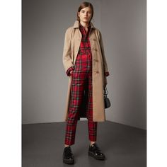Burberry Reversible Gabardine and Tartan Wool Car Coat ($2,775) ❤ liked on Polyvore featuring outerwear, coats, a-line coat, button coat, double faced wool coat, wool car coat and burberry coat