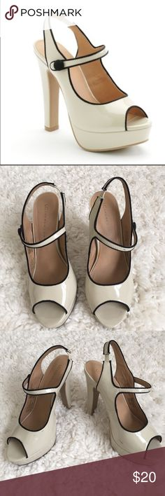 LC Lauren Conrad Winnie Heels Cream platform heels with peep toe and black piping along the edges. There's a few scuff marks as evident in the photos. LC Lauren Conrad Shoes Platforms