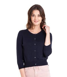 WoolOvers Womens Silk and Cotton 3/4 Sleeve Crop Cardigan: Amazon.co.uk: Clothing