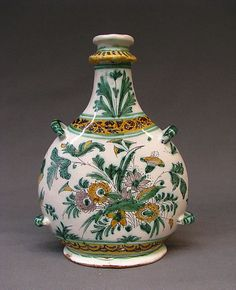 1650-1675 French Pilgrim flask at the Metropolitan Museum of Art, New York - Pilgrim flasks were called as such because they had the same shape as the canteens and water bottles carried by Medieval pilgrims on their travels.
