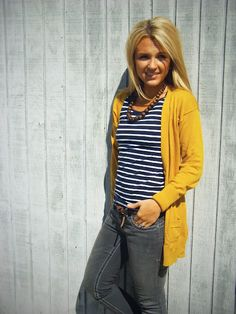 yellow cardigan, navy + white striped tee, grey skinnies, brown beaded statement necklace