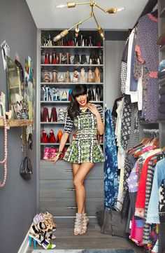 "Athena Calderone's Brooklyn Penthouse, Harper's Bazaar - As you can tell by her super cute Peter Pilotto dress and decked out closet, Athena is a total fashionista. ""I feel like I can't live without my Susie Homemaker side, baking and cooking, but I also can't live without fashion."" I can dig it. Oh, and I'm diggin' those shoes, too."