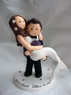 Personalised bride and groom wedding cake by ALittleRelic on Etsy