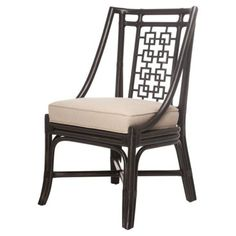 Check out this item at One Kings Lane! Palm Springs Side Chair, Black/Beige