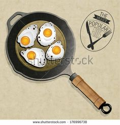 Retro vintage style Fried Frying Pan with  Eggs. The most popular foods. Realistic frying pan  and fried eggs illustrations. by Vector Maker...