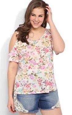 Deb Shops Plus Size Short Cold Shoulder Sleeve Trapeze Top with Floral Print $13.93